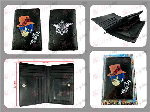 Negro mayordomo Accesorios larga cremallera cartera en relieve