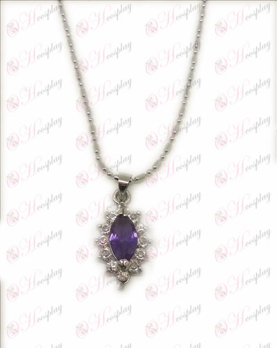 D 물집 까만 집사 액세서리 다이아몬드 목걸이 (자주색)