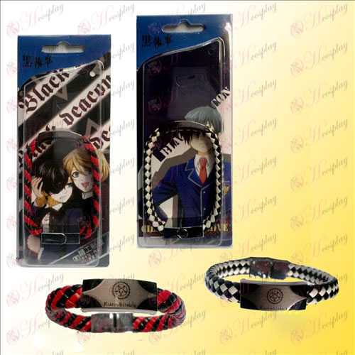 Black Butler Accessories punk red and black strap - two black and white
