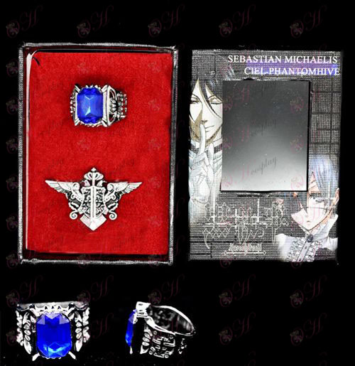 Black Butler Accessories butler eagle flag brooch + Ring Set