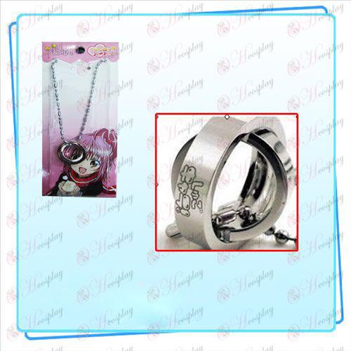 Shugo Chara! Αξεσουάρ δικυκλικό δαχτυλίδι κάρτα κολιέ εγκατασταθεί (ασημί