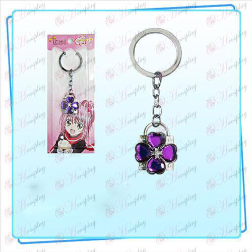 Shugo Chara! Tillbehör Lås nyckelring (silver lås lila diamant)