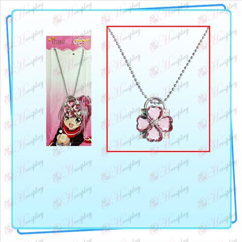 Shugo Chara! 부속품 자물쇠 목걸이 (은 잠금 핑크 다이아몬드)