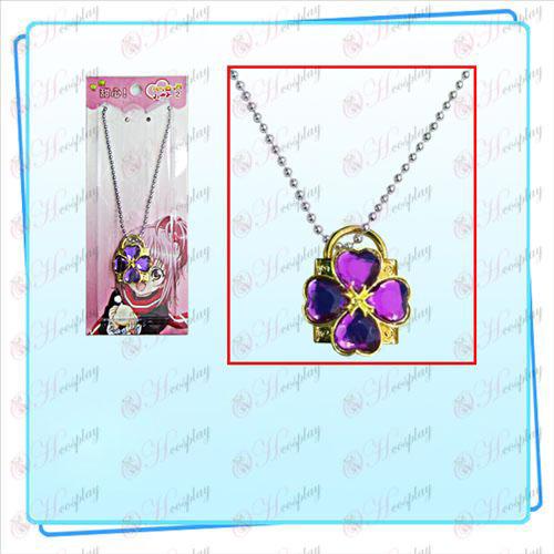 Shugo Chara! Acessórios colar lock (trava de ouro diamante roxo)
