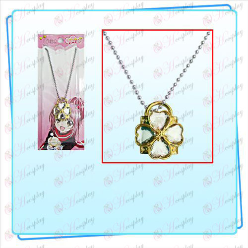 Shugo Chara! Kiegészítők zár nyaklánc (arany zár átlátszó gyémánt)