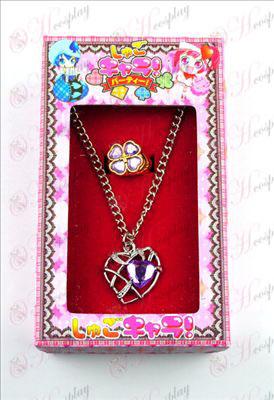 Shugo Chara! Accessoires hartvormige ketting + ring (paars)