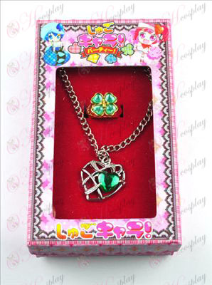 Shugo_Chara! اكسسوارات على شكل قلب قلادة + خاتم (الأخضر)