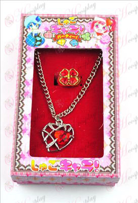 Shugo Chara! Dodatki v obliki srca ogrlica + prstan (rdeča)