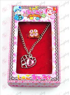 Shugo Chara! Dodatki v obliki srca ogrlica + prstan (Pink)