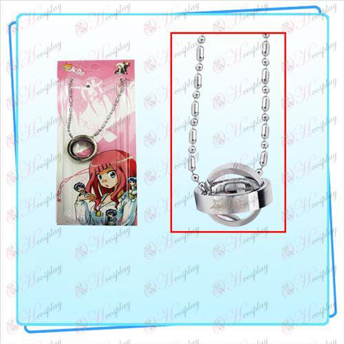 Star-Krádež Girl Príslušenstvo logo dvojitý krúžok náhrdelník nainštalovaná karta (Silver)