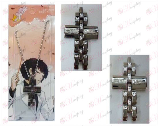 Estrela Roubar-Acessórios Menina cruz colar preto e branco