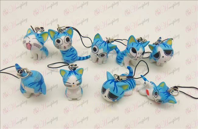 9 Sweet Cat Accessories Toy Machine Strap (Blue)