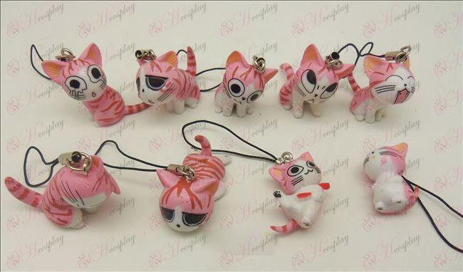 9 אבזרים רצועת מכונת צעצוע חתול מתוק (ורוד)