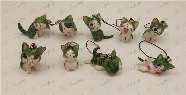 9 אבזרים רצועת מכונת חתול מתוק (ירוק)