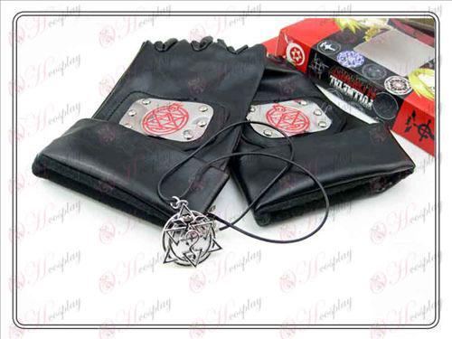 Steel Alchemist кожени ръкавици + Lace Колие (три части)