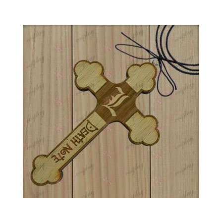 Death Note Accessories-L flag wooden cross necklace