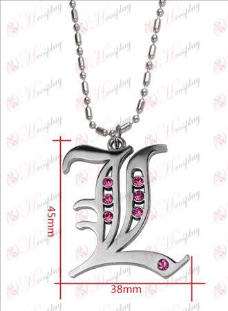 Death Note RekvisiittaL lippu timantti kaulakoru (vaaleanpunainen timantti)