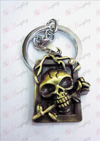 הערה אבזרים טבעת מות מסיבת רישוי ממדי גולגולת סרט יהלומי מפתח (ברונזה)