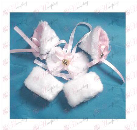 אוזניים של חתול הלבן תיקיית פעמון BB + עניבה + צמיד אלסטי