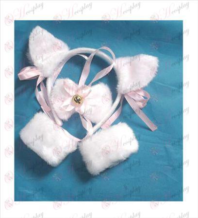 Weiße Katze Ohren feste Glocke Stretch-Armband + tie +