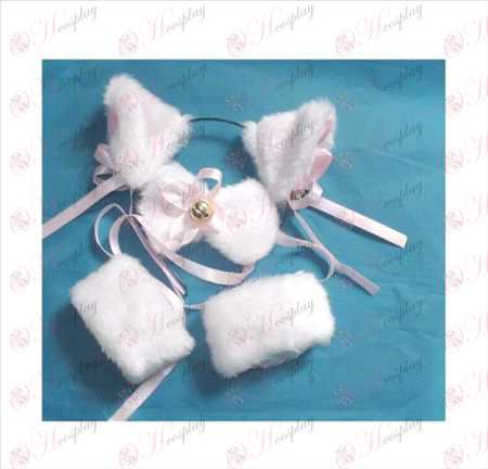Skjut klocka katt öron vit + slips + elastiskt armband