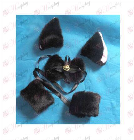 אוזניים של חתול תיקיית BB + עניבה + צמיד אלסטי (שחור)