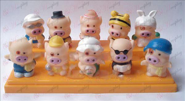 10 plastik dukke McDull gris dam