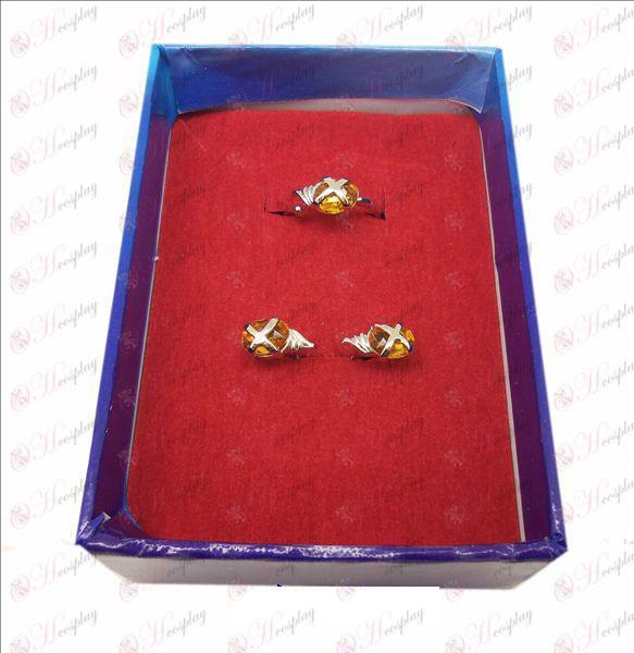 D Shakugan לא טבעת אבן חן שנה + עגילים (כתום טבעת קטנה)