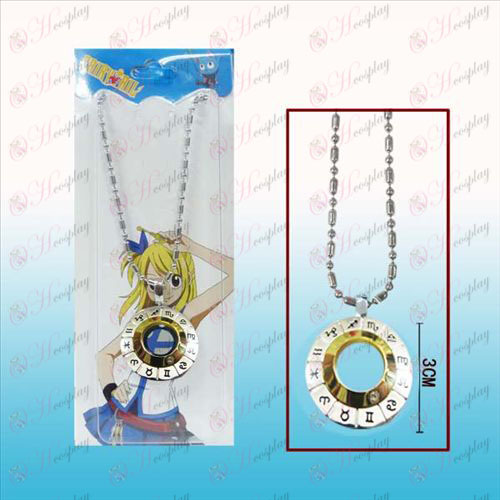 Fairy Tail 12 horoskop tegn hvidt stål halskæde (golden
