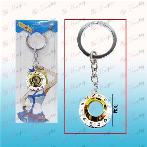 זנב פיות מזלות הסימן הלבן הפלדה Keychain 12 (זהב
