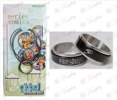 Fairy Tail Pribor Črna Steel Ring Ogrlica transporter - Rope