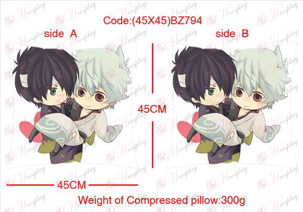(45X45) BZ794-Gin Tama Accessoires Anime ruimde vierkante kussen