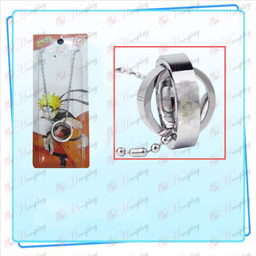 Naruto write round eyes flag double ring necklace (card)