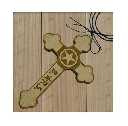 Lack Rock Shooter Accessories-star flag wooden cross necklace