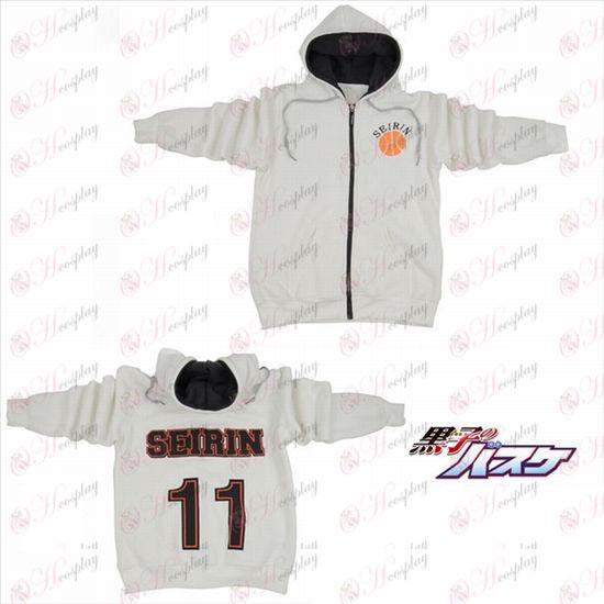 kuroko по баскетбол Accessories11 номера лого цип качулка пуловер бял