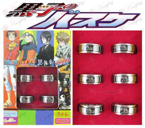 של Kuroko כדורסל אבזרים פלדה השחורה מסתובב טבעת (6 / סט)