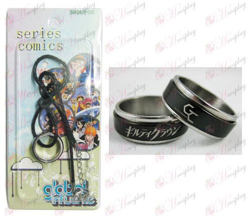 Guilty Crown Pribor Črna Steel Ring Ogrlica transporter - Rope