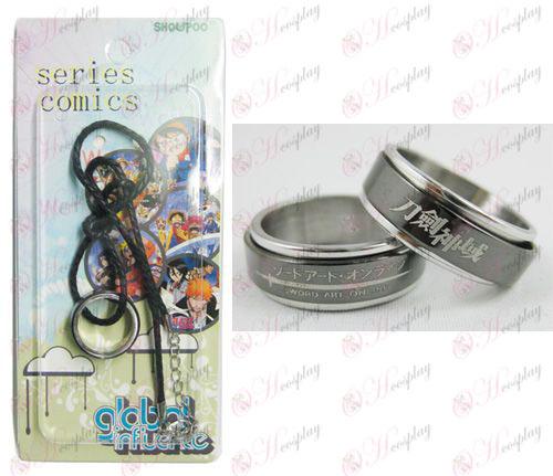 Sword Art Online Аксесоари черна стомана транспортер Ring Колие - Rope