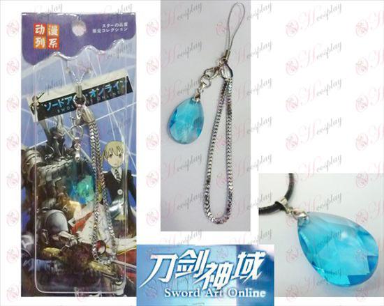 רצועת חרב אמנות מקוונת אבזרים Yui לב כחול גביש