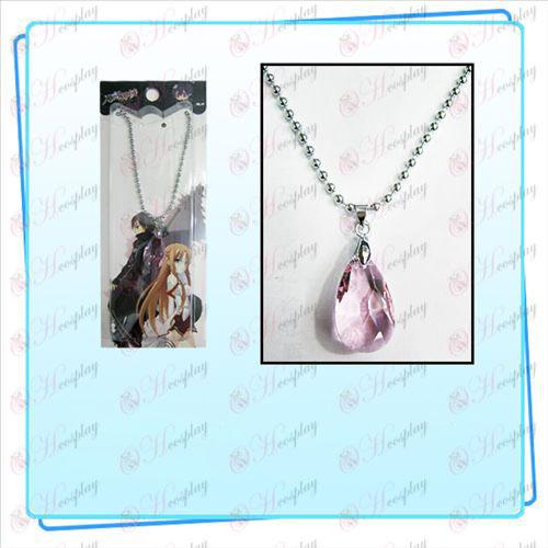 Espada de arte en línea Accesorios Yui corazón collar de cristal (transparente rosa)