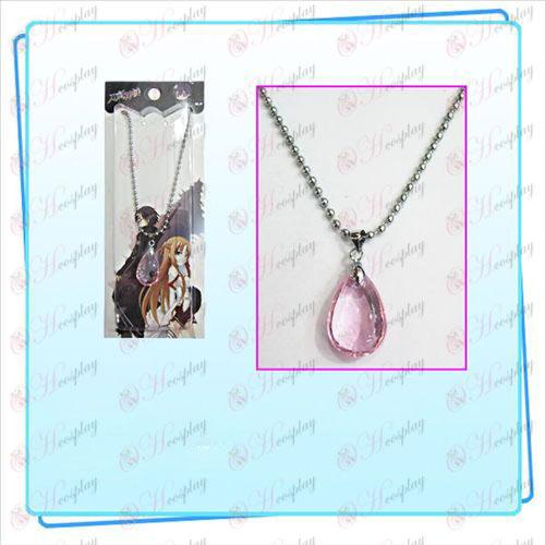 Espada de arte en línea Accesorios Yui collar cristalino del corazón (rosa)