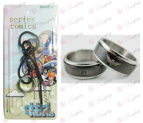 League of Legends Accessories Black Steel Ring Necklace transporter - Rope