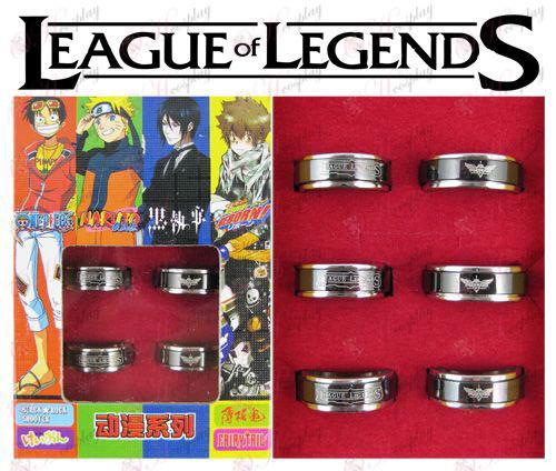 Лигата на Легенди Аксесоари черна стомана въртящия се пръстен (6 / комплект)