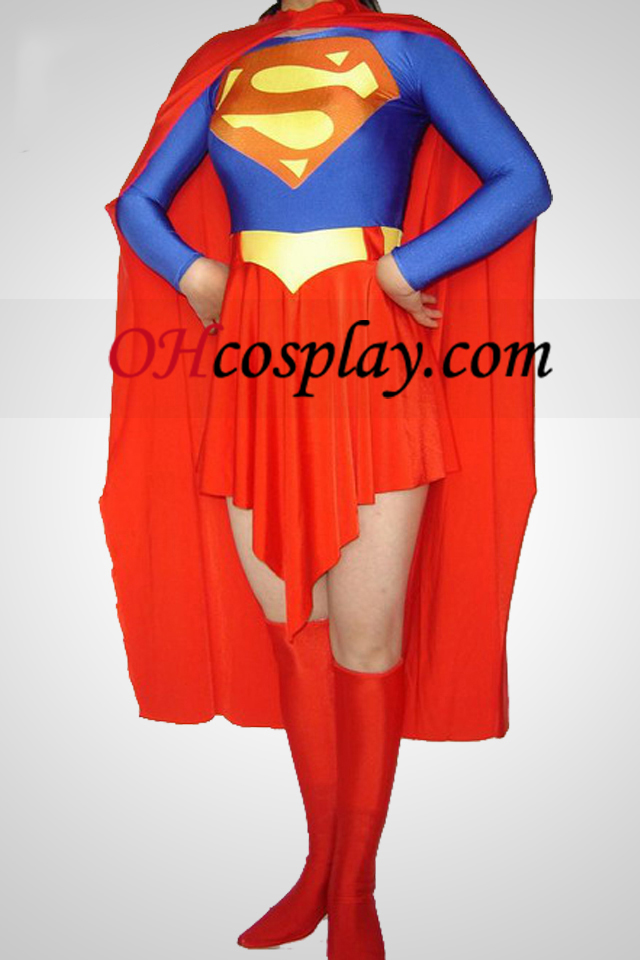 Superwoman Lycra Spandex Зентай Suit