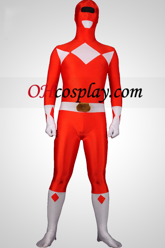 Mighty Red Ranger Lycra Spandex Унисекс Зентай Suit