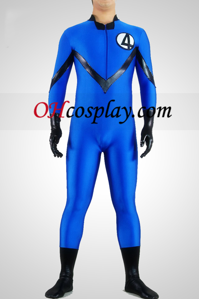 Blue Lycra Spandex И Shiny Metallic Унисекс Superhero Зентай