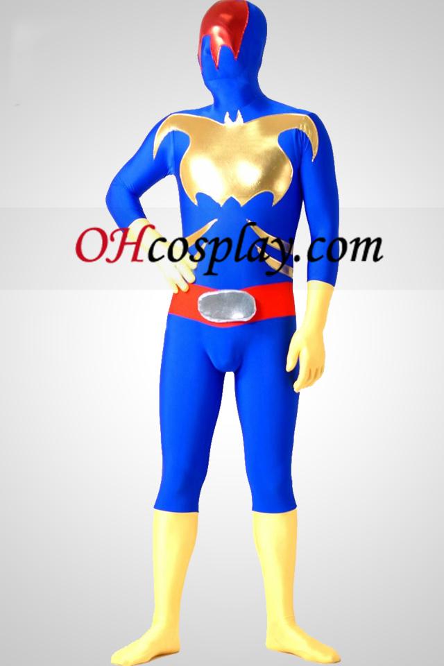 Blå Lycra Spandex Shinny Metallic Zentai Suit