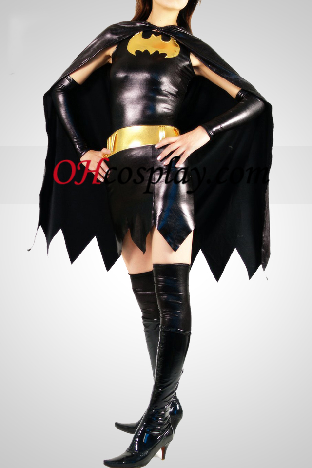 Musta Batwoman Shiny Metallic Superhero Catsuit