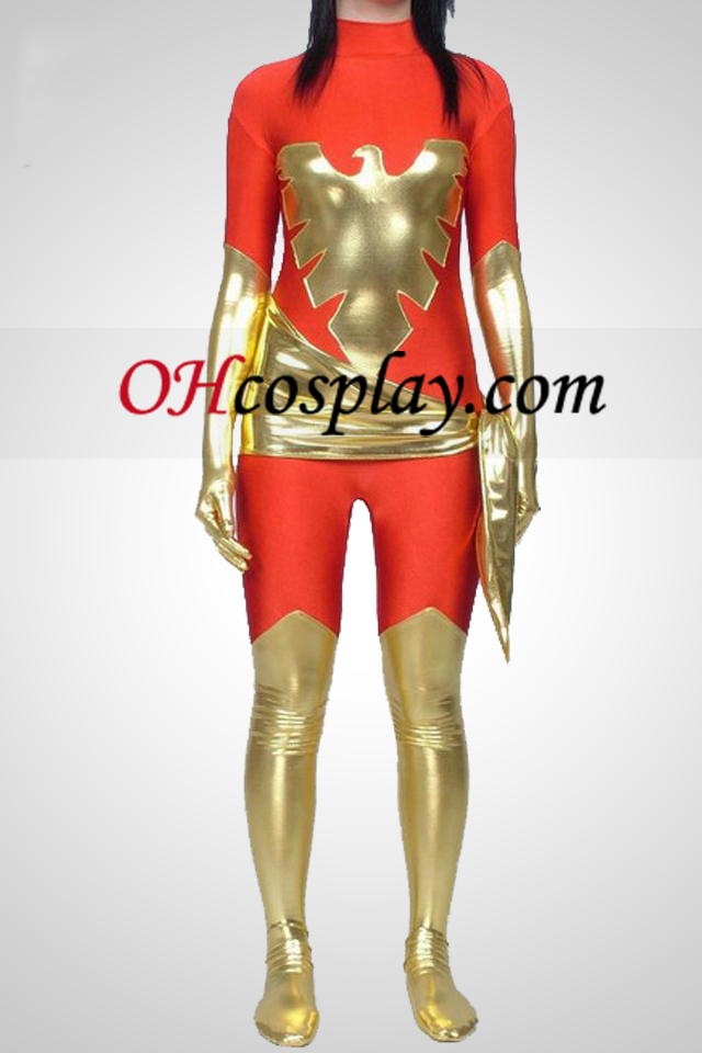 X-Men Dark Phoenix brillante metalizado y catsuit de Lycra Superhero
