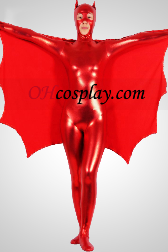 Red Batwoman Shiny Metallic Superhero Zentai Suit